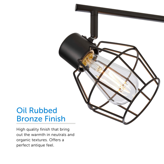 Close up on the track head with an Oil Rubbed Bronze Finish. The high quality finish brings a warmth with neutral and organic textures. It offers a perfect antique feel.