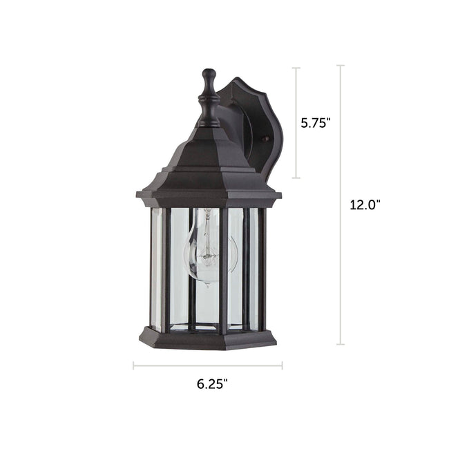 "Hampshire Outdoor Wall Lantern / Sconce Down-Facing Coach Style Waterproof Light - Black With dimensions of 12"" x 6.25"""