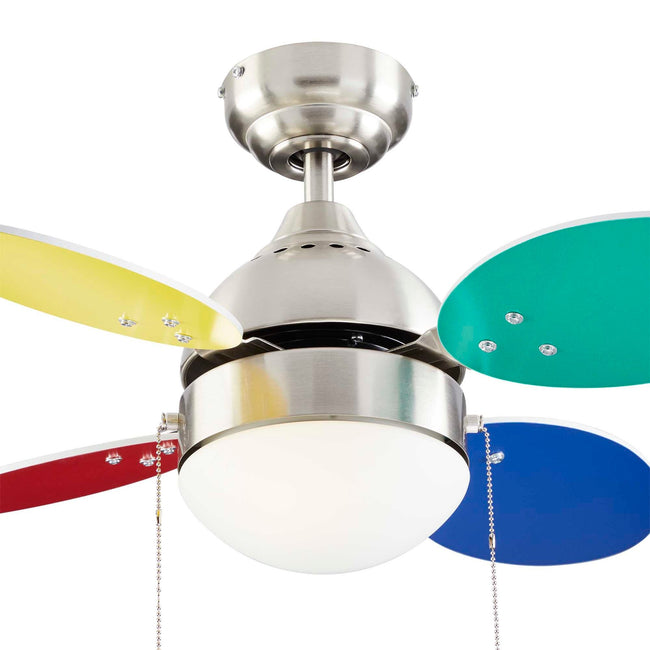 Ollie Ceiling Fan with LED Light - 4 Blades - Multi-color & White Blades close up