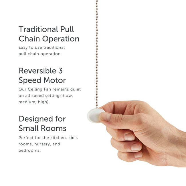 Ollie Ceiling Fan pull chain operation, reversible motor and room capacity callouts