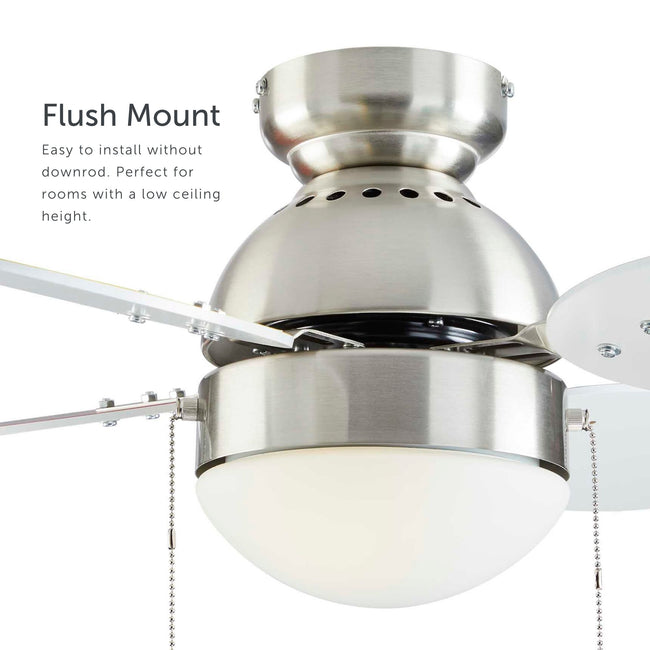 Ollie Ceiling Fan with LED Light - 4 Blades - Multi-color & White Blades as a flush mount