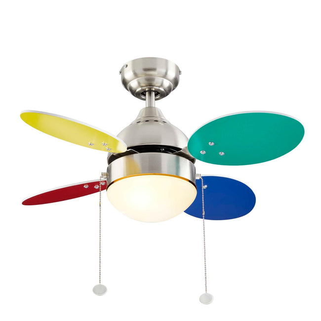 Ollie Ceiling Fan with LED Light - 4 Blades - Multi-color & White Blades on a white background