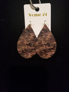 Cork Drop Earrings- Camo