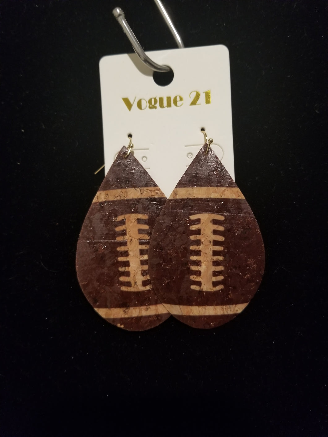 Cork Drop Earrings- Football