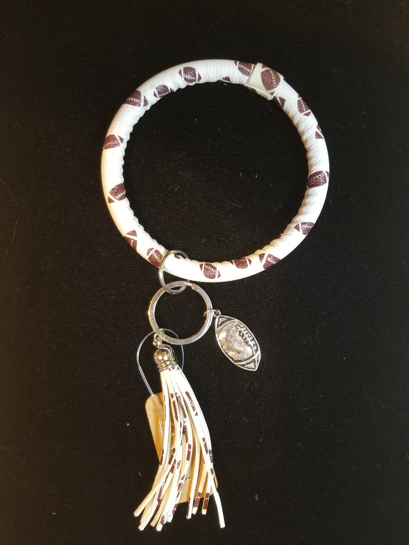 Football Round Key Chain with Charm & Tassel