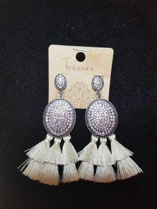Oval Rhinestone Earrings with Tassels