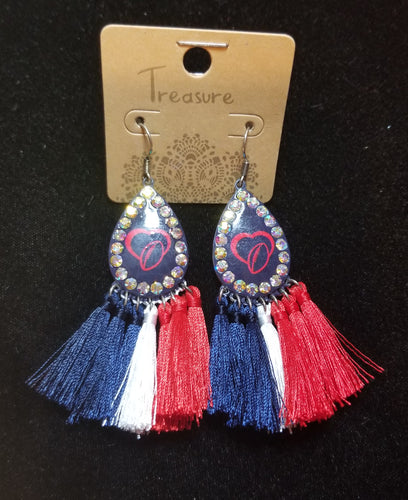 Dark Blue Tear Drop Football Earrings With Tassels