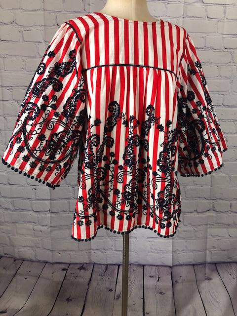 Joy Joy Red & Navy Blouse Size Medium