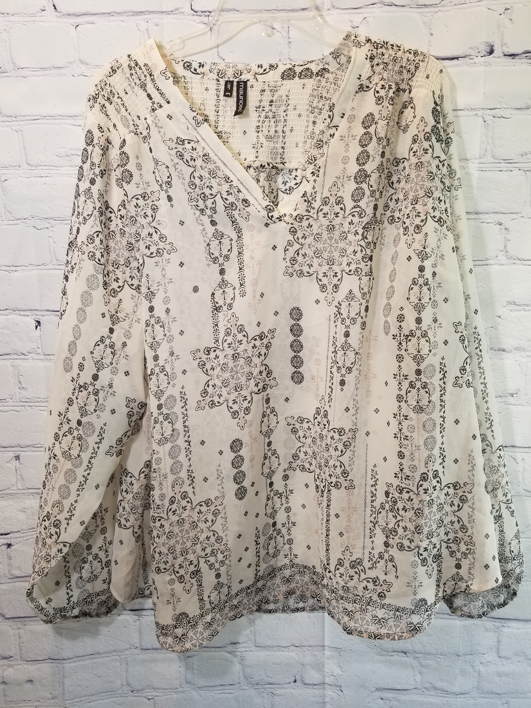 Maurices Long Sleeve Sheer Blouse Size 3