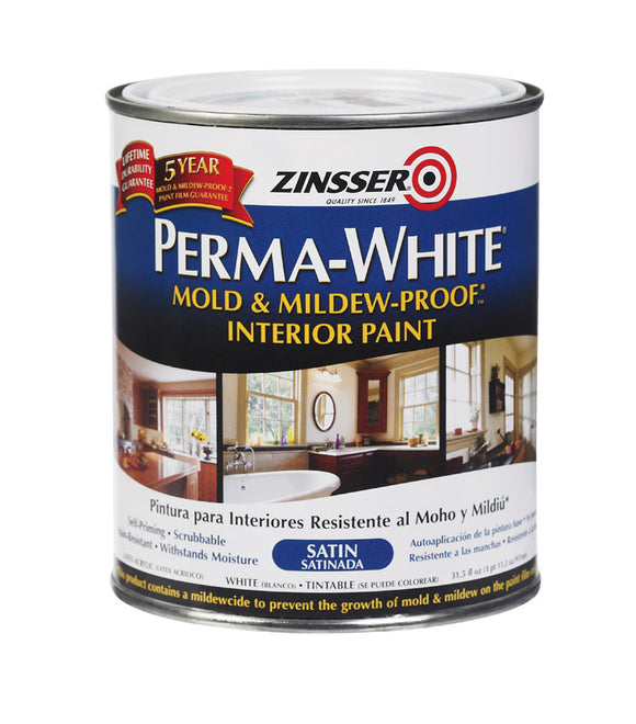 Zinsser  Perma-White  Satin  White  Mold and Mildew-Proof Paint  1 qt.