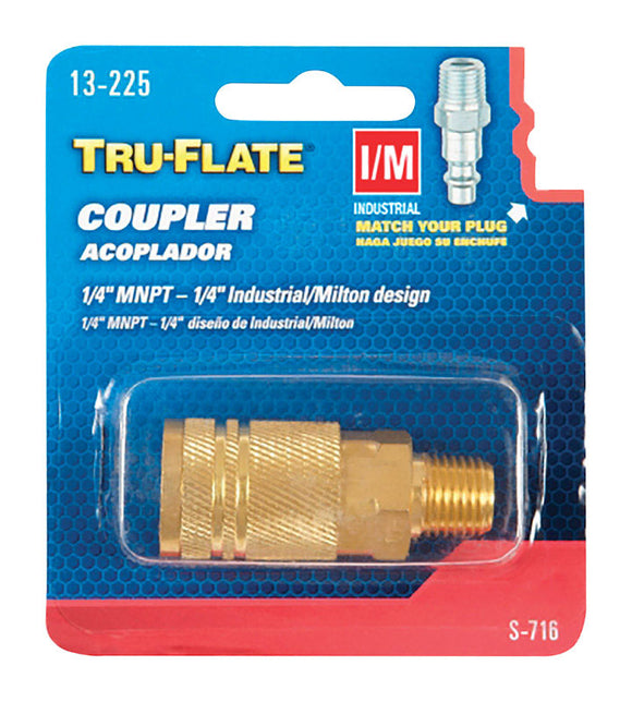 Tru-Flate  Brass  Quick Change Coupler  1/4 in. Male  1 pc.