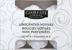Candle-lite  White  No Scent Scent Votive  Candle  3.16 in. H x 2.5 in. Dia.