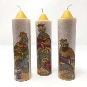 """The three magi"", Christmas beeswax pillars made by the sisters of monasterevmc.org / ""Les rois mages"", bougies en cire d'abeille fabriquées par les soeurs du monasterevmc.org"
