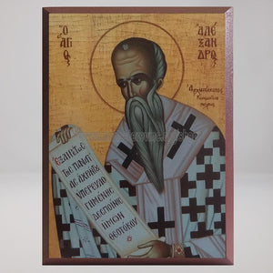Saint Alexander, Archbishop of Constantinople, byzantine custom made icon by the sisters of monasterevmc.org/ Saint Alexandre, icône byzantine orthodoxe fabriquée par les soeurs du monasterevmc.org