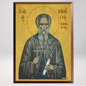 Saint Athanasios the Athonite, byzantine custom made icon by the sisters of monasterevmc.org / Icône byzantine orthodoxe de Saint Athanasios l'Athonite, fabriquée par les soeurs du monasterevmc.org