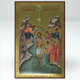 Baptism-Theophany of our Lord Jesus Christ, Russian orthodox custom made icon by the sisters of monasterevmc.org| Théophanie du Christ notre Seigneur, icône russe orthodoxe fabriquée par les soeurs du monasterevmc.org
