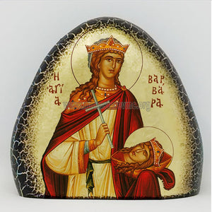 Saint Barbara on gold gilded stone handmade by the Greek Orthodox sisters of Monastery Virgin Mary the Consolatory. monasterevmc.org