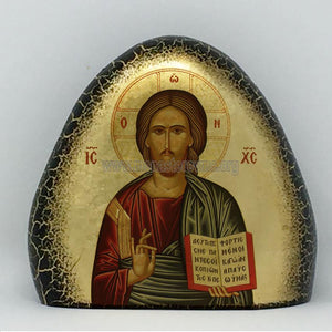 Christ, handmade byzantine icon on gold gilded stone from the sisters of Monastery Virgin Mary Consolatory. monasterevmc.org