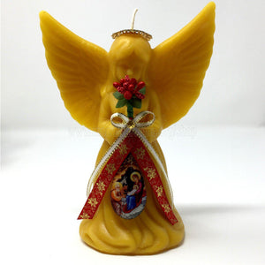 "All Natural Beeswax ""Christmas Angel"" candle made by the sisters of monasterevmc.org using 100% Canadian local beeswax / Bougies ""Ange de Noël"", fabriquées par les soeurs du monasterevmc.org"