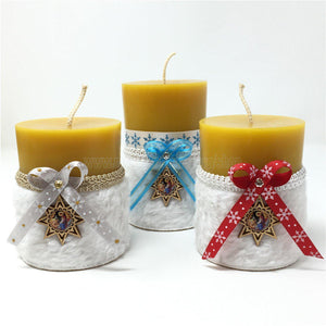 All Natural Beeswax Pillar Christmas Candles made by the sisters of monasterevmc.org using  100% Canadian local beeswax / Bougies de Noël en cire d'abeille fabriquées par les soeurs du monasterevmc.org