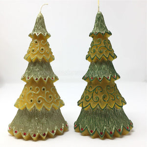 "All Natural Beeswax Pillar ""Christmas tree"" candles made by the sisters of monasterevmc.org using 100% Canadian local beeswax / Bougies ""Sapin de Noël, fabriquées par les soeurs du monasterevmc.org"
