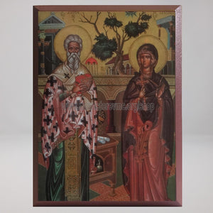 Saints Cyprian & Justina, byzantine orthodox custom made icon by the sisters of monasterevmc.org/ Saints Cyprien et Justine, icône byzantine orthodoxe fabriquée par les soeurs du monasterevmc.org