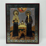 Saints Elizabeth the Duchess and Barbara the novice, Russian Orthodox Icon made by the sisters of monasterevmc.org / Icône russe orthodoxe des Saintes Elizabeth la duchesse et Barbara,, faite à la main par les soeurs du monasterevmc.org