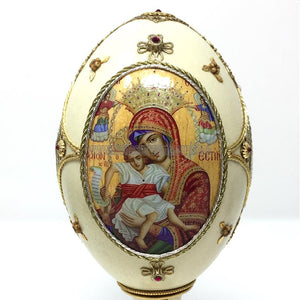 Hand embellished rhea egg with byzantine orthodox icons in Canada by the sisters of monasterevmc.org/Oeuf de nandou décoré à la main avec des icônes byzantines orthodoxes au Québec par les soeurs du monasterevmc.org