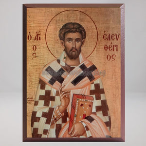Saint Eleftherios the Hieromartyr, byzantine custom made icon by the sisters of monasterevmc.org / Icône byzantine de Saint Eleutherios, l'hiéromartyre, fabriquée par les soeurs du monasterevmc.org