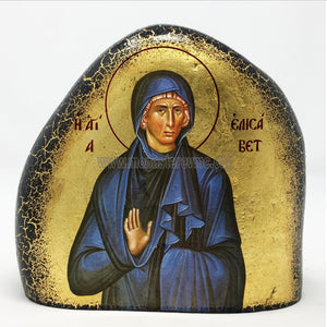 Saint Elizabeth on a gold gilded stone handmade by the Greek Orthodox sisters of the Monastery Virgin Mary the Consolatory. monasterevmc.org
