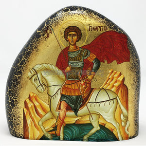 Saint George on a gold gilded stone handmade by the Greek Orthodox sisters of the Monastery Virgin Mary the Consolatory. monasterevmc.org