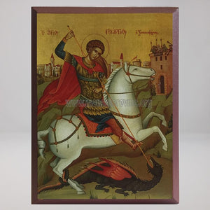 Saint George, byzantine orthodox custom made icon by the sisters of monasterevmc.org / Icone byzantine orthodoxe de Saint George, fabriquée par les soeurs du monasterevmc.org