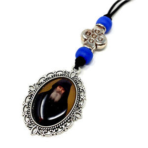Orthodox car pendant with a picture of a painting of Elder Ephraim made by the sisters of monasterevmc.org / Pendentif orthodoxe avec une photo du Père Ephraim faite à la main par les soeurs du monasterevmc.org