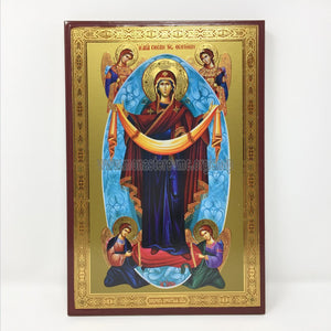 Holy Protection of the Mother of God, Russian orthodox custom made icon by the sisters of monasterevmc.org / Protection de la Mère de Dieu, icône de style russe orthodoxe fabriquée par les soeurs du monasterevmc.org