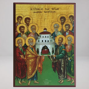 Synaxis of the Holy 12 Apostles, orthodox byzantine custom made icon by the sisters of monasterevmc.org / Saints 12 Apôtres, icone byzantine orthodoxe fabriquée au Québec par les soeurs du monasterevmc.org