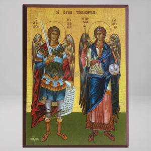 Holy Archangels Michael & Gabriel, byzantine orthodox custom made icon by the sisters of monasterevmc.org
