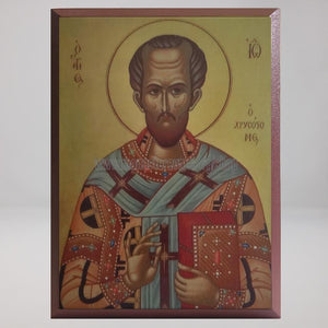 Saint John Chrysostom, Archbishop of Constantinople, byzantine orthodox custom made icon by the sisters of monasterevmc.org/ Saint Jean Chrysostome, icone byzantine orthodoxe fabriquée par les soeurs du monasterevmc.org