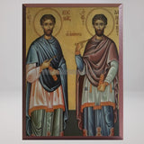 Saints Kosmas & Damian, byzantine orthodox custom made icon by the sisters of monasterevmc.org