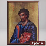 Saint Luke the Apostle and Evangelist, byzantine custom made icon by the sisters of monasterevmc.org / Saint Luc l'apôtre et évangéliste, icone byzantine orthodoxe fabriquée au Québec par les soeurs du monasterevmc.org