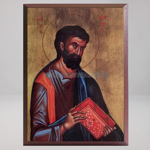 Saint Mark the Apostle and Evangelist, byzantine custom made icon by the sisters of monasterevmc.org / Saint Marc l'apôtre et évangéliste, icone byzantine orthodoxe fabriquée au Québec par les soeurs du monasterevmc.org