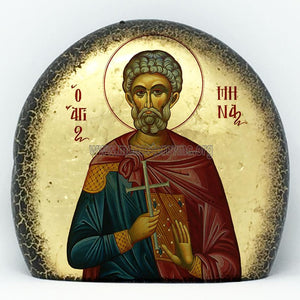 St. Menas of Egypt orthodox icon on stone monasterevmc.org