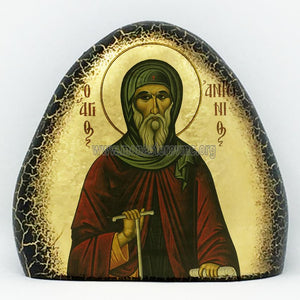 Saint Anthony on gold gilded stone handmade by the Greek Orthodox sisters of Monastery Virgin Mary the Consolatory. monasterevmc.org