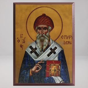 Saint Spyridon of Tremithus, byzantine orthodox custom made icon by the sisters of monasterevmc.org / Saint Spyridon de Tremithus, icône byzantine orthodoxe fabriquée par les soeurs orthodoxes du monasterevmc.org
