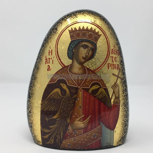 Saint Catherine on gold gilded stone handmade by the Greek Orthodox sisters of the Monastery Virgin Mary the Consolatory. monasterevmc.org