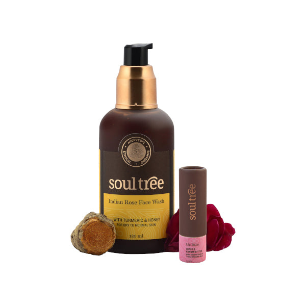 Indian Rose Face Wash & Lotus Lip Balm - Combo Set