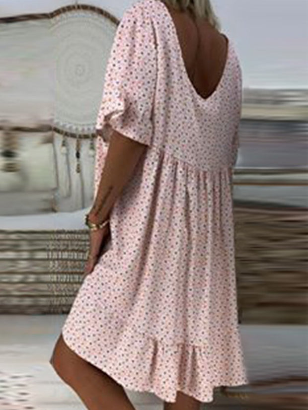 Women Beach Floral Dots Short Sleeve Wide Shoulders Ruffled Cotton Dresses