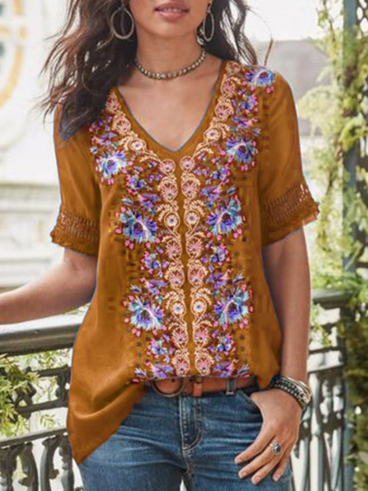 Women Vintage Print Cutout Short Sleeve V-Neck Cotton-Blend Patchwork Tops