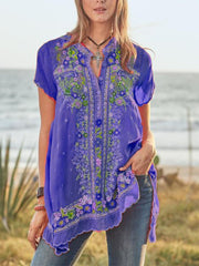 Women Holiday Printed Short-Sleeve Buttoned V-Neck Mid-length Tops