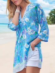 Women Beach Elegant Print Floral 3/4 Sleeve V Neck Cotton-Blend Chiffon Tunics