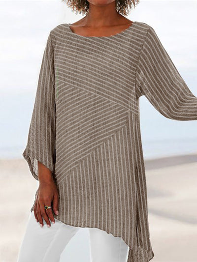 Women Daily Striped Long Sleeve Crew Neck  Plus Size Cotton /  Linen Tunics